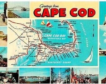 Vintage Cape Cod Postcard - Greetings from Cape Cod (Unused)