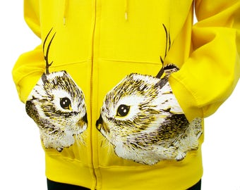 SALE Baby Jackalope hoodie - one of a kind eco screenprint on neon yellow cotton fleece zip hooded sweatshirt - Unisex Small / womens Medium