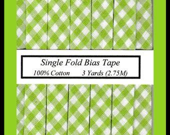 3 Yards (2.75 M) SINGLE Fold Bias Tape - Carolina Gingham in Lime