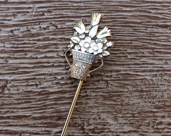 Flower Bouquet Stick Pin Sterling Silver