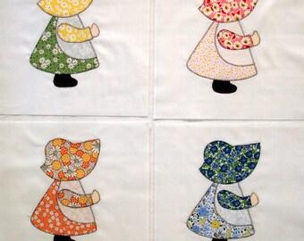 Sunbonnet Sue Appliqued Quilt Blocks