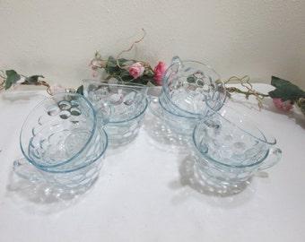 Fire King Bubble Cups Blue Sapphire Set of 8