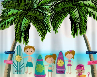 Surf Day  Shower Curtains for girls or boys or family