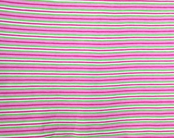 """100% Cotton Interlock Knit Fabric Piece, Pink Green and White Stripes For Baby Girl  40"""" x 23"""" Cotton Fabric for Bibs, Diapers or Wipes"""