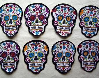 3 Dia de Los Muertos Fabric Iron On Sugar Skull Appliques