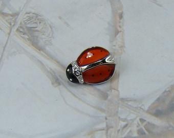 Vintage Ladybug Brooch Vintage 1980 Beautiful See Through Red Glass Clear Rhinestones Welcome Spring Ladybug Pin