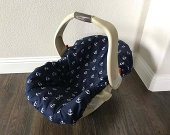 Navy Anchors - ALL COTTON - Car Seat Pad Liner Chicco Keyfit - Graco Snugride - Britax - Safety 1st - Evenflo