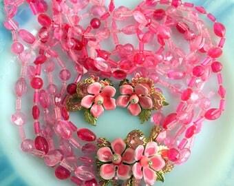 Vintage multistrand Hot Pink necklace Earring Set With Enamel Flowers Rhinestone