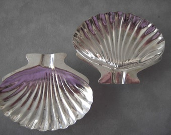 Trays-Vintage Sterling Silver Clam Shell Ash Trays Made in Mexico- set of 2
