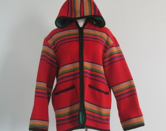 Classic 80s Red Striped Wool Blanket Coat by The Limited - Vintage Striped Blanket Jacket - Vintage 1980s Red Jacket S M L