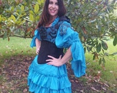 Custom order Teal and Black Gypsy Corset with Hood