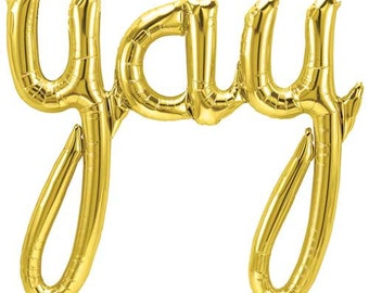 YAY script balloons- Gold-Bridal Shower Balloon Banner, YAY Banner, Wedding, Bachelorette, etc..