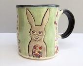 Rabbit Mug,  Bunny Full of Love Green Mug with Hearts, Ceramic Coffee Mug or Tea Mug, Animal Pottery