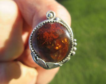 RESERVED FOR BRANDI - Sterling Silver Leaf Mexican Fire Agate Ring - Size 8 1/4 - Free Resizing