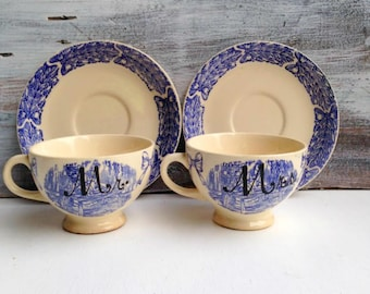 Mr. and Mrs. Tea Cups Hand Painted Vintage Blue Cream Transferware Bride & Groom  Wedding Gift Camwood Ivory Tea Party Wedding