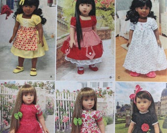 """Simplicity 1486 Doll Dress for 18""""  by Cupcake Cuth Du  New - Uncut"""