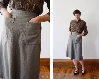 Majestic Specialties 50s Grey Wool Skirt with Large Pockets - XS