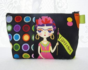 Artist Frida Kahlo Fabric Large Cosmetic Bag Zipper Pouch Padded Makeup Bag Zip Pouch Alexander Henry Esperanza Bright Black Self Portrait