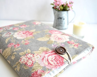 Floral MacBook Case, MacBook Air Case, MacBook Pro Case, Chromebook, Ultrabook, or Custom Size - Rose
