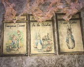 Peter Rabbit / Beatrix Potter tags, set of 6, vintage inspired with crystal rhinestones.