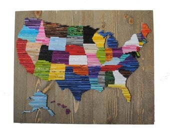 Map of the United States - made from Recycled Magazine wall art- colorful, blue, green, red, purple, pink, yellow, orange, teal, tan, brown