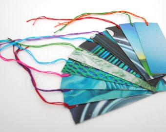 teal GIFT TAGS set of 10- made from recycled magazines, colorful, unique, one-of-a-kind, teal, blue, ocean, sky, pattern