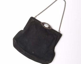 Black vintage purse, Antique black purse with chain - France
