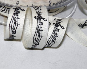 18 Meters Polyester Printed Ribbon Music notes Craft Decorations 15mm. Gift Wrap Ribbon for music lovers. Black and White