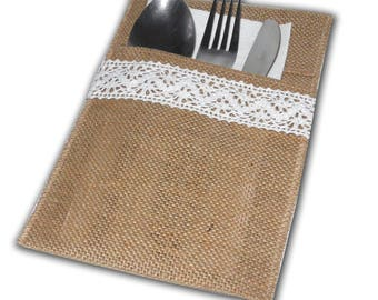 6 Pieces Burlap Silverware Holders. Burlap Cultery Holder. Rustic Pocket Cultery Holder. Wedding Table Decoration.Burlap Lace Pocket.