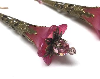 Victorian Filigree Flower Earrings. Long Drop Earrings. Pink. Lightweight. Garden. Romantic. Fairy. Be Mine. Handmade Jewelry.