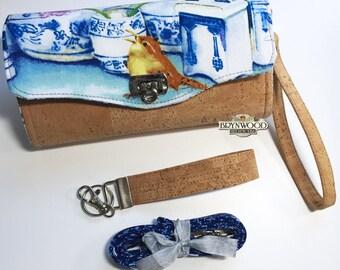 Flow Blue Wren Clutch Wallet, Brynwood Wallet, Michelle Palmer Fabric Wallet