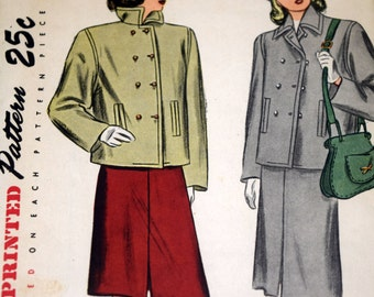 Simplicity 1913 Juniors Two Piece Suit Sewing Pattern, Size 11 Bust 29, 1940s Juniors Skirt and Jacket, Cut but Complete