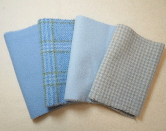 """Hand Dyed Wool Felt, Light Pastel Blue, Four 6"""" x 15-16"""" pieces in Light Pastel Blue, Perfect for Rug Hooking, Applique' and Crafting"""