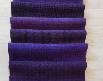 Grape Purple Hand dyed felted wool in a range of Grape tones - Textures Perfect Rug Hooking and Applique Wool