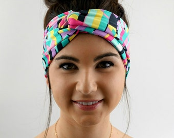 Turban Headband Wide Head Wrap Geometric Chevron Twist Headband Pink Blue Black Turband Bohemian Headband Hair Accessories or Choose Color