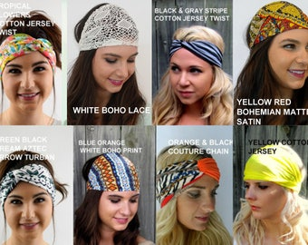 Headbands for Women Head Wraps - Choose Any TWO - Workout Headbands Turban HeadBand Head Wrap Scarf