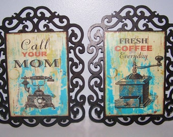 Wall Hanging, Wall Decor, Home Decor, Shabby, Rustic, Coffee Grinder, Telephone, Vintage, Antique, Black, Teal, Gifts for Her, Gifts for Him