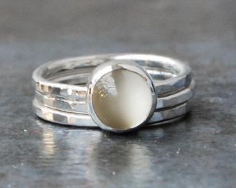 Rings, Silver Rings, Sterling Silver Rings, Moonstone, White Moonstone, Moonstone Ring, Stacking Rings, Moonstone Stacking Rings