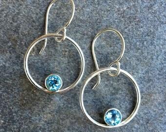 Earrings, Swiss Blue Topaz Earrings, Blue Topaz Hoop Earrings, Sterling Silver, Hoops