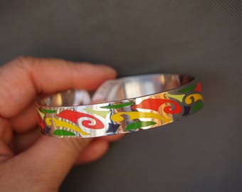 New Old Stock Colorful Enamel Metal Bangle Bracelet 2 1/2 inches - Fire Lane