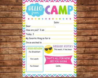 Girl Camp Notecards Note Fill in the blank Hello Letter Bright Chevron - DIGITAL FILE - Immediate DOWNLOAD
