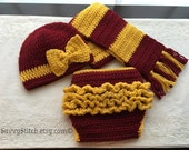 Newborn Baby Girl Harry Potter Inspired Hat, Scarf, Diaper Cover with Bow & Ruffles Photo Prop Set Crochet Costume Gift Gryffindor Hogwarts
