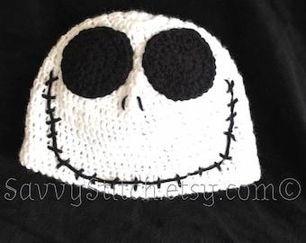 Jack Skellington Inspired Hat Beanie Skeleton Skull Costume Cosplay Halloween Nightmare Before Christmas Newborn Baby Child Adult Cap