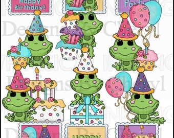 Friendly Frogs Hoppy Birthday Clipart Collection - Immediate Download