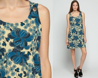 Babydoll Mini Dress 70s Mod Mini Floral Print Boho Empire Waist Bohemian 1970s Jumper Pinafore Vintage Sleeveless Blue Cream Large