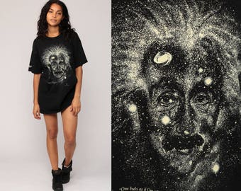 Albert Einstein Shirt GLOW in THE DARK Outer Space T Shirt Vintage Galaxy Tshirt Science 1993 Tee Black Galactic Graphic Extra Large xl