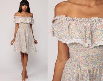 Floral Sun Dress 70s Sundress Mini GUNNE SAX Boho Off Shoulder Peasant Lace Vintage 1970s Bohemian Summer Cotton Yellow Blue Extra Small xs