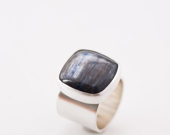 Kinetic ring - kyanite and sterling silver blue gray cushion shape modern wide band minimalist ring