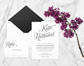 The 'Evelyn' Romantic Calligraphy Wedding Invitation Suite (Sample)