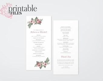 The Zara Watercolour Wildflower Wedding Ceremony Program (Printable)